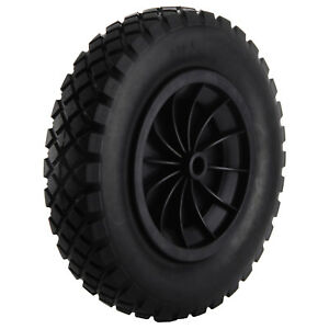"Black PU 14"" Puncture Proof Solid 3.50-8 Wheelbarrow wheel Complete High Quality"