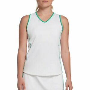 Prince Women's Piped Match Racerback Tennis Tank shirt white green