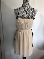 Zara Basic  Women's Beige Cream Dress Size S Black Lace Trim Spaghetti Strap 34