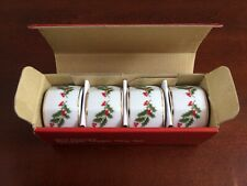 Napkin Rings Set of 4, Hand Decorated Holly With Gold Trim ~ Vintage