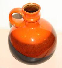 Strehla Keramik Vase 60/70er Orange Schwarz braun German Pottery 308/20