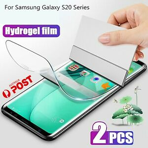 2X HYDROGEL Screen Protector Samsung Galaxy S20 Ultra plus S10 S9 S8 Note 10 s2