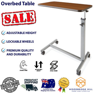 Overbed Table Adjustable Height Wheels Bedside Mobility Medical Hospital