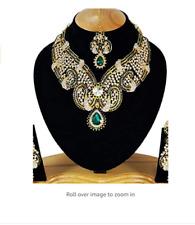Indian Cubic Zirconia Latest Wedding Designer Kundan Necklace Jewelery Set