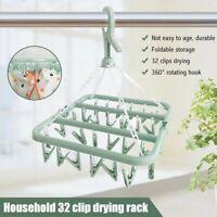 32 Clips Socks Drying Rack Hanging Folding Laundry Underwear Bra Hanger Foldable