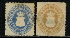 Germany Oldenburg #24,25 1867 Mint No Gum