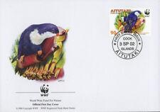 WWF  UCCELLI  FDC ISOLE AITUTAKI BUSTA PRIMO GIORNO 2002 PAPPAGALLI  2/4