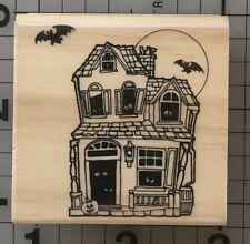 Halloween Haunted House Rubber Stamp Bat Full Moon Eyes Jack-o-lantern Pumpkin