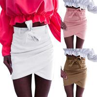 Ladies Womens Pencil Slim Bodycon Mini Skirt Bandage High Waist Short Wrap Dress