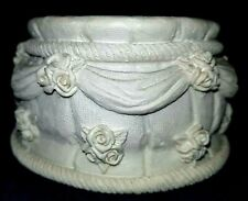 White Unity Candle Holder with new Candle. Candle has beads in shape of roses
