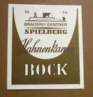 1950s GERMAN BEER LABEL BIERETIKETTEN, BRAUEREI GENTER SPIELBERG GERMANY, BOCK