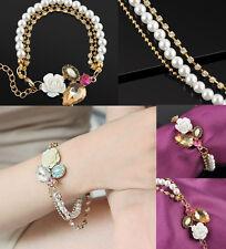Fashion Cute white Rose Big Rhinestone Charm Pearl Crystal Chain Bracelet Gift