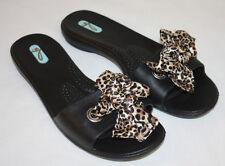 Okabashi Oka Bee Black Animal Print Ribbon Womens Ladies Slides Flip Flops Sz M