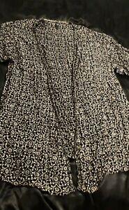 Evans Ladies Kimono Style Top Black & Cream Size 22/24