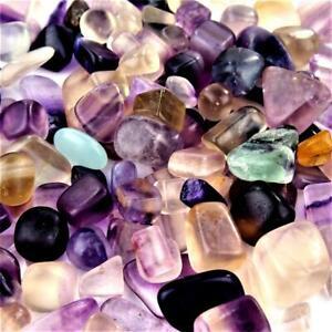 300 g Fluorit bunt Trommelsteine Ø  10 - 25 mm  A/B - Qualität Regenbogenfluorit