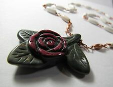 """Handmade Carved Flower Stone Pendant 22"""" Toggle Clasp Genuine Copper Necklace"""