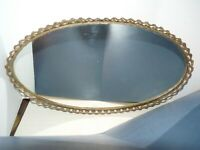 "Vtg Mirror & Brass Tray 15"" Oval Filigree Dresser Vanity Hollywood Regency"