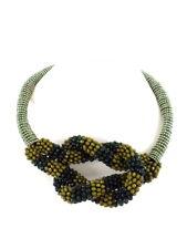 Halskette Collier 16 cm D. Band Grün Knoten silber / grün / olivefarbene Perlen