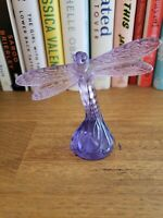 Lalique Signed Crystal Purple Dragonfly