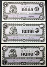 Lot of 3x Groupe Rona Argent Cle 10 Cents Paper Money