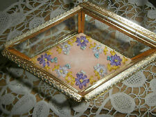 Vintage Stylebuilt Beveled Glass Jewelry Casket Trinket Dresser Box ~Embroidered