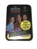 2019-20 TOPPS MATCH ATTAX UEFA CHAMPIONS LEAGUE SOCCER 60 CARDS w SUPERSTARS TIN