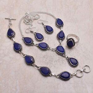 Blue Sapphire Gemstone Ethnic Handmade Christmas Gift Jewelry Sets L-1152