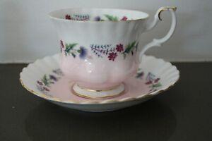 Royal Albert Pink & White Cup Saucer 4473