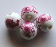 30pcs 10mm Round Porcelain/Ceramic Beads - White / Deep Pink Cherry Blossoms