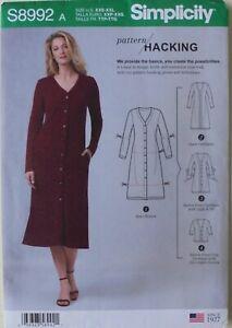 Simplicity 8992 Misses Sewing Pattern Hacking Sweater Dress Cardigan Sz XXS-XXL