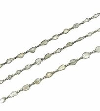 Antique Finish Handmade Design Chain Rose Cut Diamond 925 Sterling Silver