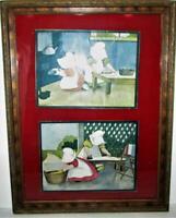 Antique Carved Wood Frame w/ B L Corbett Sunbonnet Prints Velvet Mat 17.5 x 13.5