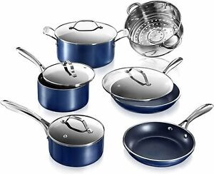 Granitestone Blue Pots & Pans Set Nonstick 10 Piece Set - As Seen on TV NEW