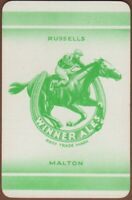 Playing Cards 1 Single Card Old RUSSELLS Brewery Advertising Beer HORSE RACING 2