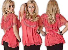 Chiffon Blouse Lace Womens Blouse Sexy Top Layered Look Tunic Bat Shirt Salmon