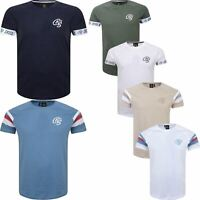 New Mens T-Shirt Crosshatch Short Sleeve Plain Piping Sleeves Tee 2019 Top