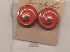 Round Swirl earrings Kenneth Lane Red Enamel
