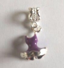 pendentif argenté robe violet foncé 18x12 mm