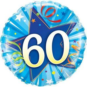 "2 Blue 60 Shining Star Round Foil Balloon Qualatex 30276 18"" 46cm brand new pair"