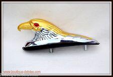 Tête d'Aigle en Métal ornement pour garde boue Chrome & OR moto custom trike