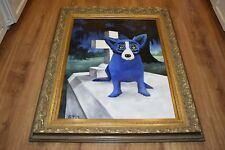 George Rodrigue Blue Dog Original 1995 Acrylic on Canvas Cajun Graveyard