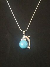 Turquoise Dolphin Necklace Gemstone Pendant on Sterling Silver Chain