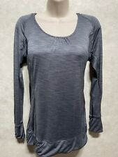 Champion Womens Gray Hoodie Athletic Long Sleeve Top Large Scoop Neck Stretch