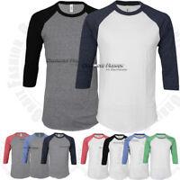 Baseball T Shirts Raglan Tri Blend 3/4 Sleeve Cotton Slim Fit Crew tee Top Mens