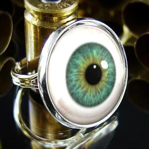 Green Glass Eyeball Realistic Doll Parts Handmade Sterling Silver Ring