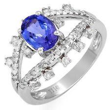 1.89ctw Diamond & Tanzanite Ring Solid 14K White Gold