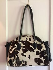 Vintage Donald Pliner cow print fur large leather handbag