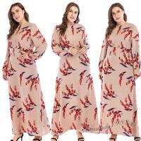 Muslim Women Printed Long Dress Robe Maxi Dubai Beach Abaya Vintage Ramadan New