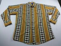 Vintage Wrangler Mens Sz Large Yellow Aztec Pearl Snap Rodeo Western Shirt