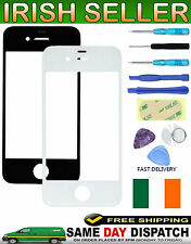 Front Replacement Glass Lens Black Outer Screen for Apple iPhone 4 4G 4S + Tools